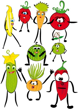series: the cheerful cartoon animated fruits and vegetables. Vector illustration Vector