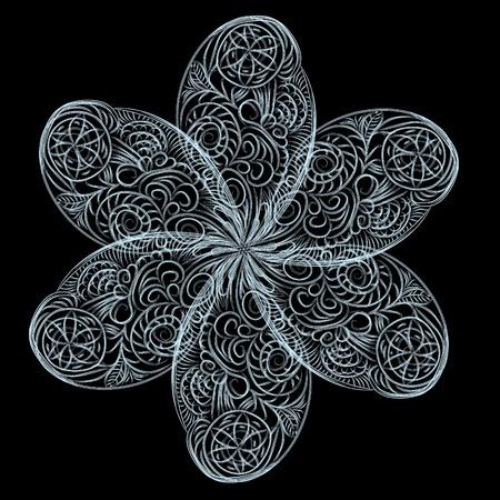 fractal design element or art background: Abstract isolated vector flower. illustration.