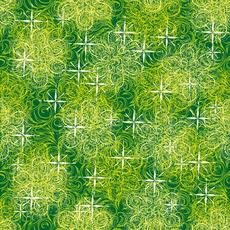 abstract frame with gentle flowers and different curls on a green background Vector