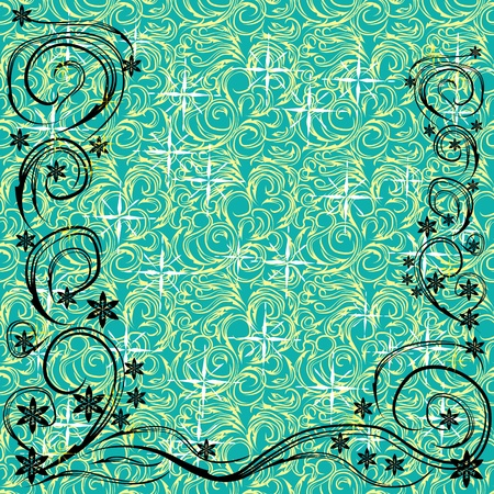 abstract frame with gentle flowers and different curls on a blue background Vector