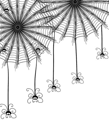 Abstract background with spiders and a web. Vector illustration Stock Vector - 13125754