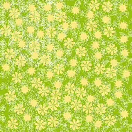 abstract seamless pattern with flowers and leaves Vector
