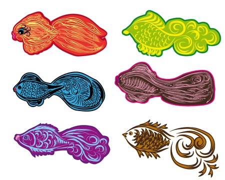set of colorful fishes Vector