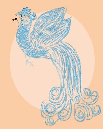 Decorative paradise bird on isolated background Vector