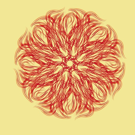 Abstract isolated flower or snowflake. illustration. Vector