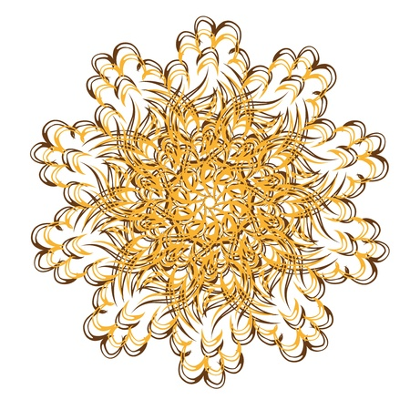 Abstract isolated vector flower or snowflake  illustration