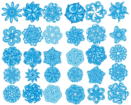 set of flowers abstract illustration Vector