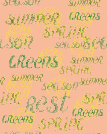 greens: abstract seamless background with summer greens word. illustration