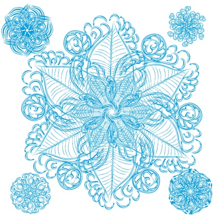set of abstract isolated flower or snowflake. Plus four bonus Vector