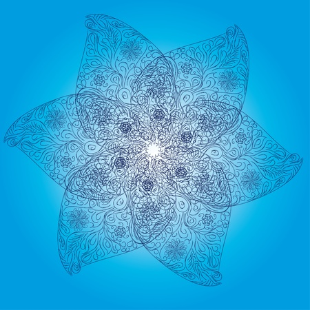 Abstract isolated vector flower or snowflake  illustration  Vector