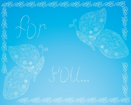 Decorative frame or background with beautiful butterfly   Blue vector Vector