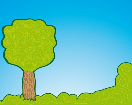 one abstract tree, symbol of nature  Vector backgound Vector