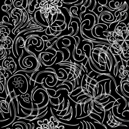 abstract seamless pattern with curling branches  Vector illustration Vector