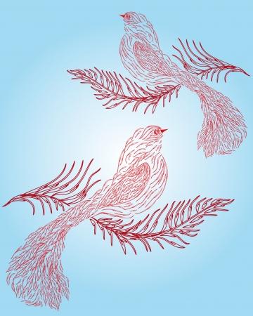 birds of paradise: Decorative paradise birds on pink background