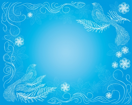 abstract frame with decorative paradise birds on blue background Vector