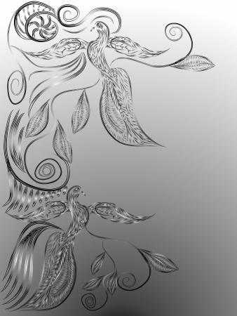 paloma caricatura: marco abstracto con las aves del para�so decorativos