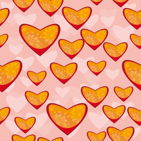 Abstract background with pink hearts.seamless pattern. Vector