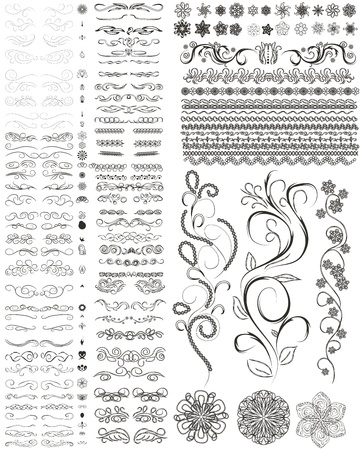 set of style design elements, frames, flowers and other.