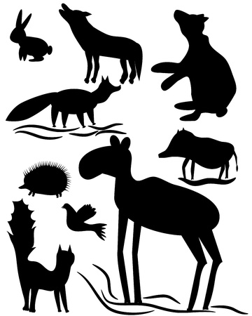 the isolated silhouettes of wood animals Vector