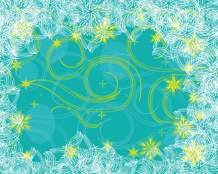 abstract frame with gentle flowers and different curls Vector