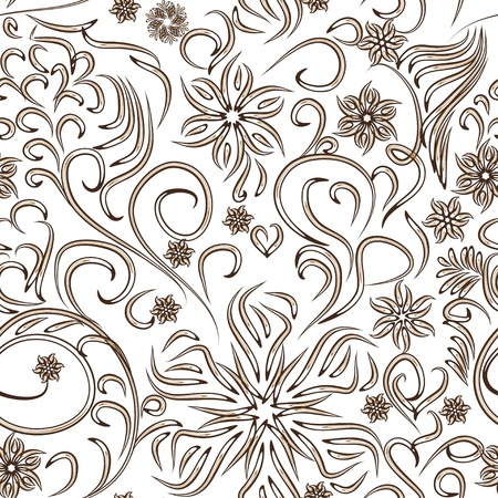 abstract seamless pattern with flowers or snowflakes. Beauty floral background Illustration
