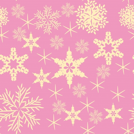 Vector pink background with various snowflakes. Abstract gentle illustration Vector