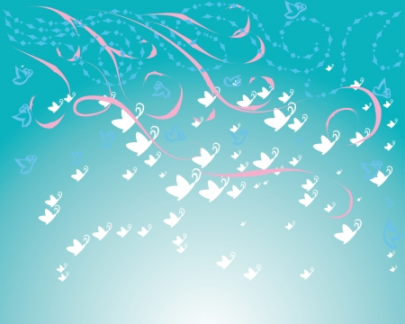 abstract frame with curling branches and gentle butterflies Vector