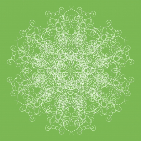 Abstract isolated white  flower or snowflake on green background. illustration. Stock Vector - 15205381