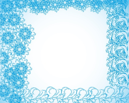 abstract  frame with flowers or snowflakes and curling branches Vector