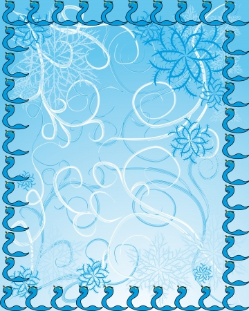 background with elements of Christmas and coming new year 2013. Snakes, snowflakes and abstract curls Vector