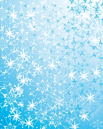 beautiful blue winter background with various snowflakes and gentle elements. Abstract  pattern Illustration
