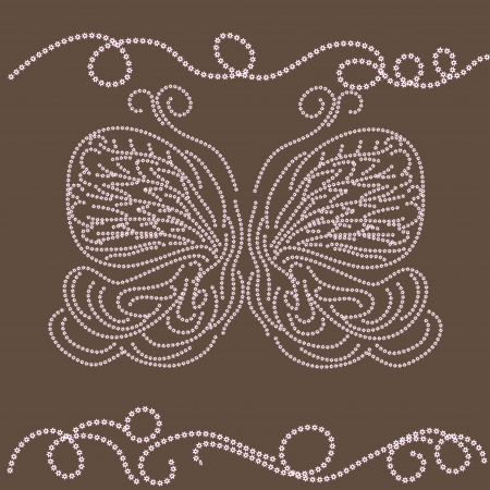 beautiful winter card with abstract isolated  butterfly. illustration. Vector