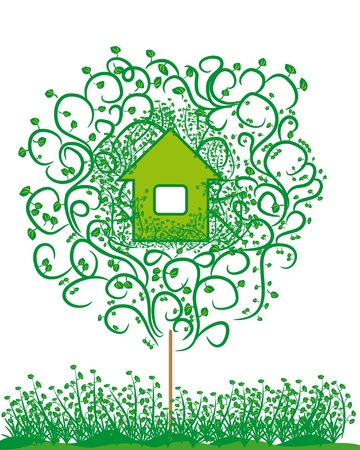 harmless: ecology emblem. harmless house. A unification with the nature. Concept
