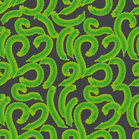green pattern with curl branches for use as a design Vector