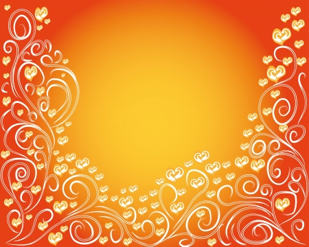 abstract love background with curling branches and hearts for you design Vector