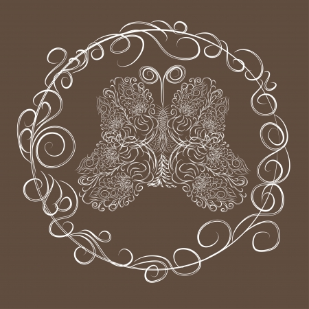 abstract love frame with decorative butterflies Vector