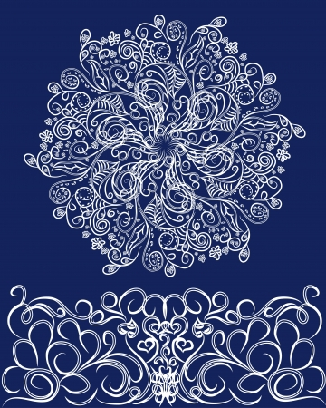 Abstract isolated vector flower or snowflake. illustration. Style grunge Vector