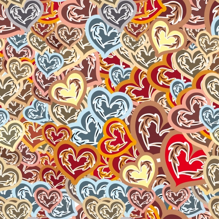 heart very: cheerful seamless pattern with colored heart with very different sizes Illustration