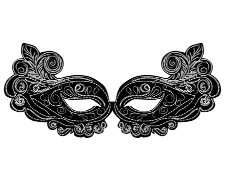 black vector carnival masks. abstract isolated illustration Vector