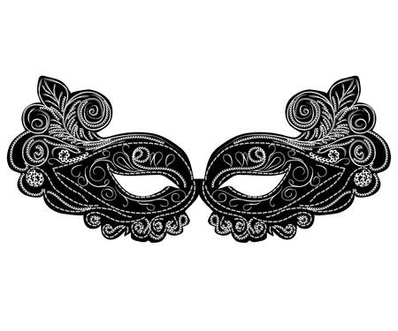 mascaras de carnaval: m�scaras de carnaval vector negro. aislados ilustraci�n abstracta