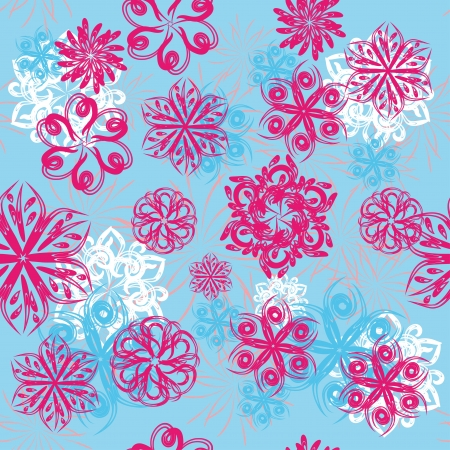 winter background with colorful different snowflakes format Vector