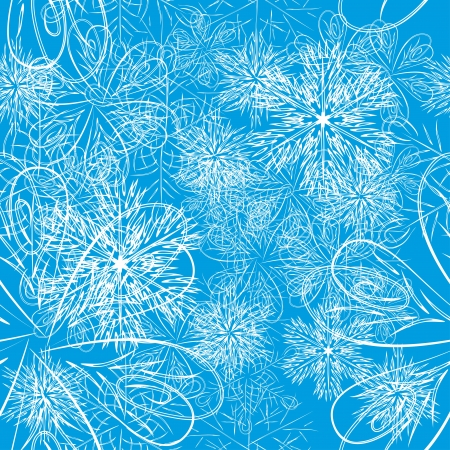 blue winter background with colorful different snowflakes  format