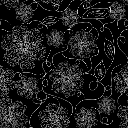 beautiful abstract seamless pattern with white elements - snowflakes, flowers and branches Vector