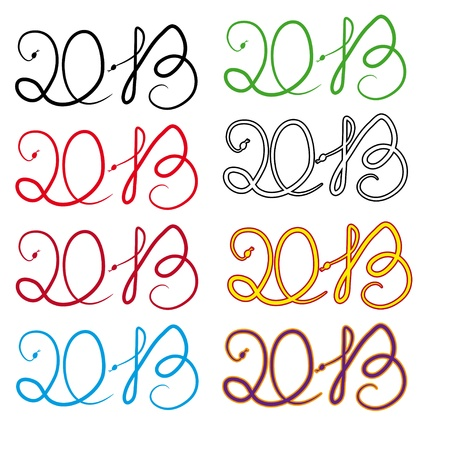 set of figures for Christmas and New Year as character snakes Vector