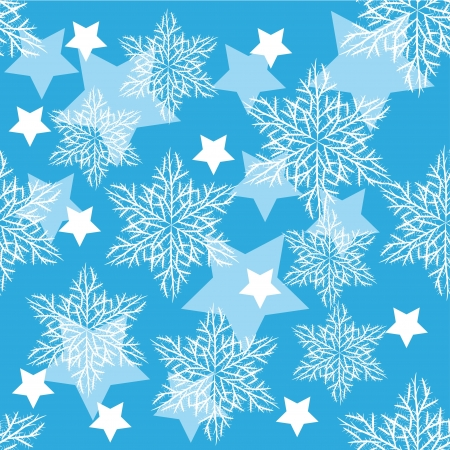 seamless pattern with winter snowflakes and stars for your design Vector