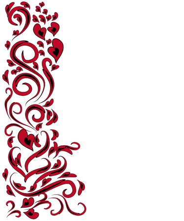 decorative lines: abstract bookmark with love elements. Framework Illustration