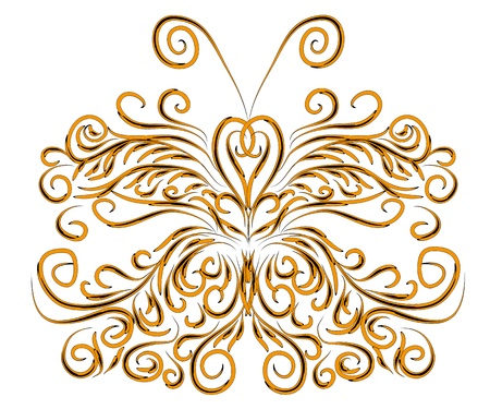 beautiful winter card with abstract isolated butterfly illustration. Vector
