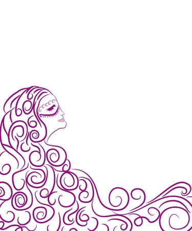Illustration of young girl in mask Vector
