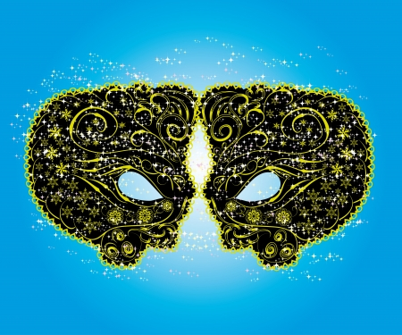 Carnival masks with gold elements abstract isolated illustration Stock Vector - 16067022