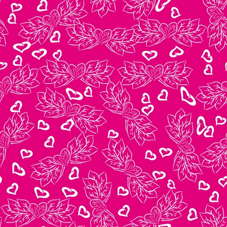 beautiful seamless pattern with hearts. Vector illustration on pink background Vector